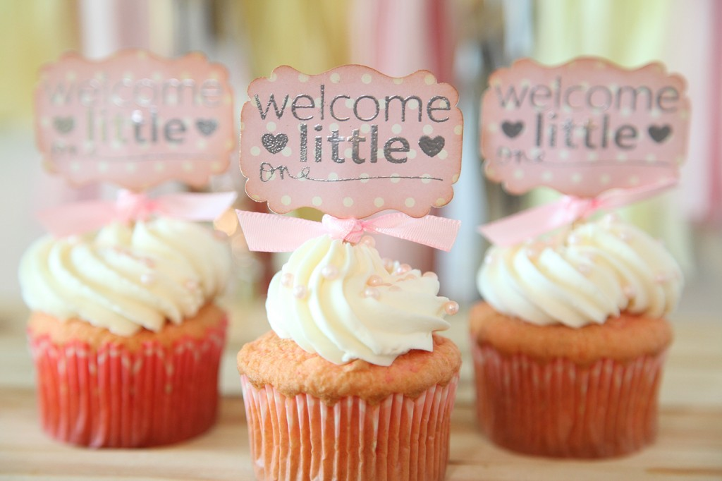 Baby shower cupcake toppers using the little one stamp set for Baby shower cupcake picks decoration